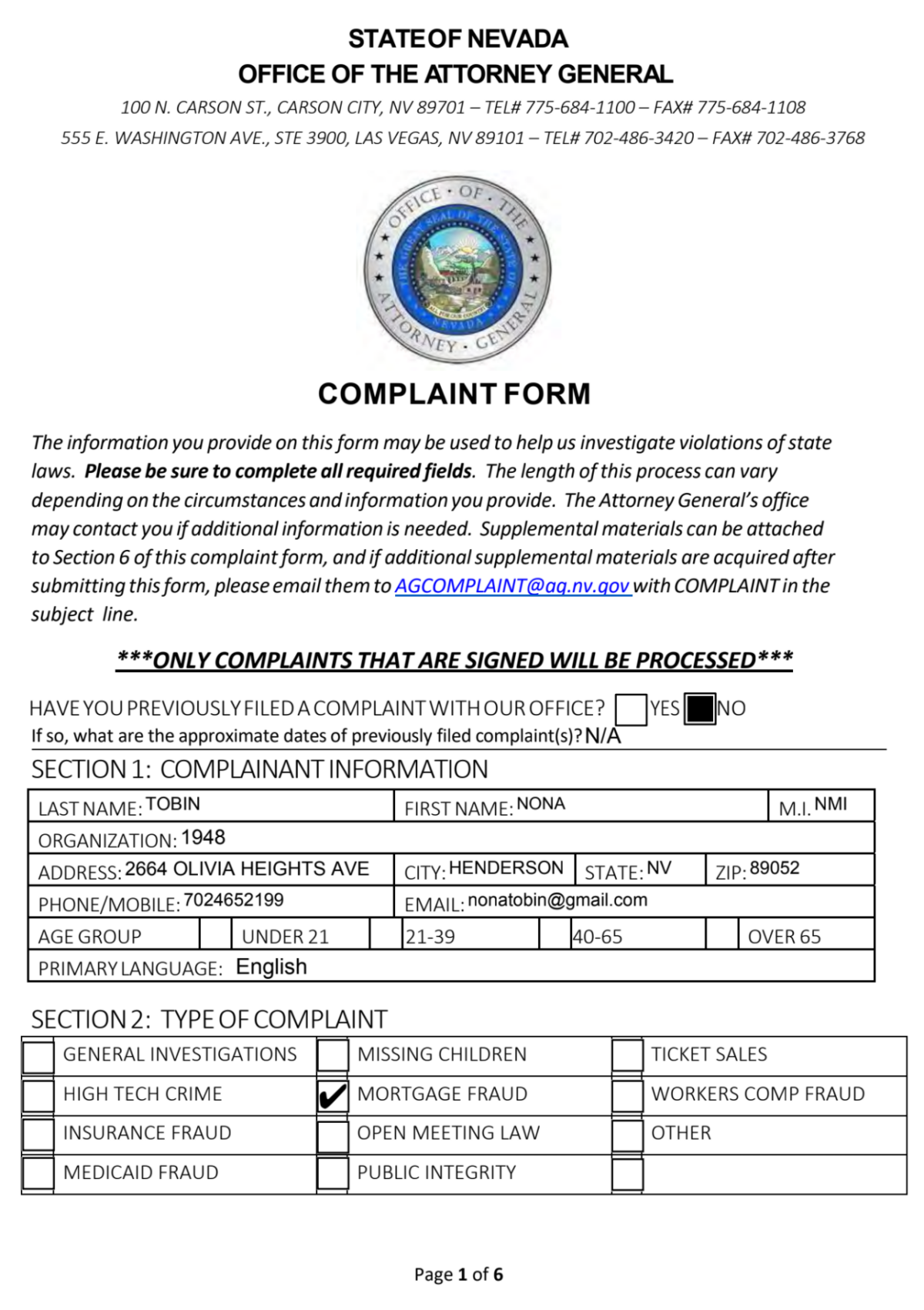 1st complaint to the Nevada Attorney General & exhibits