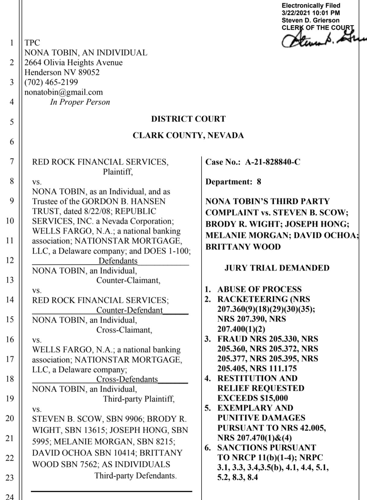 Case Detail: A-21-828840-C Nona Tobin vs. banks, debt collectors & attorneys