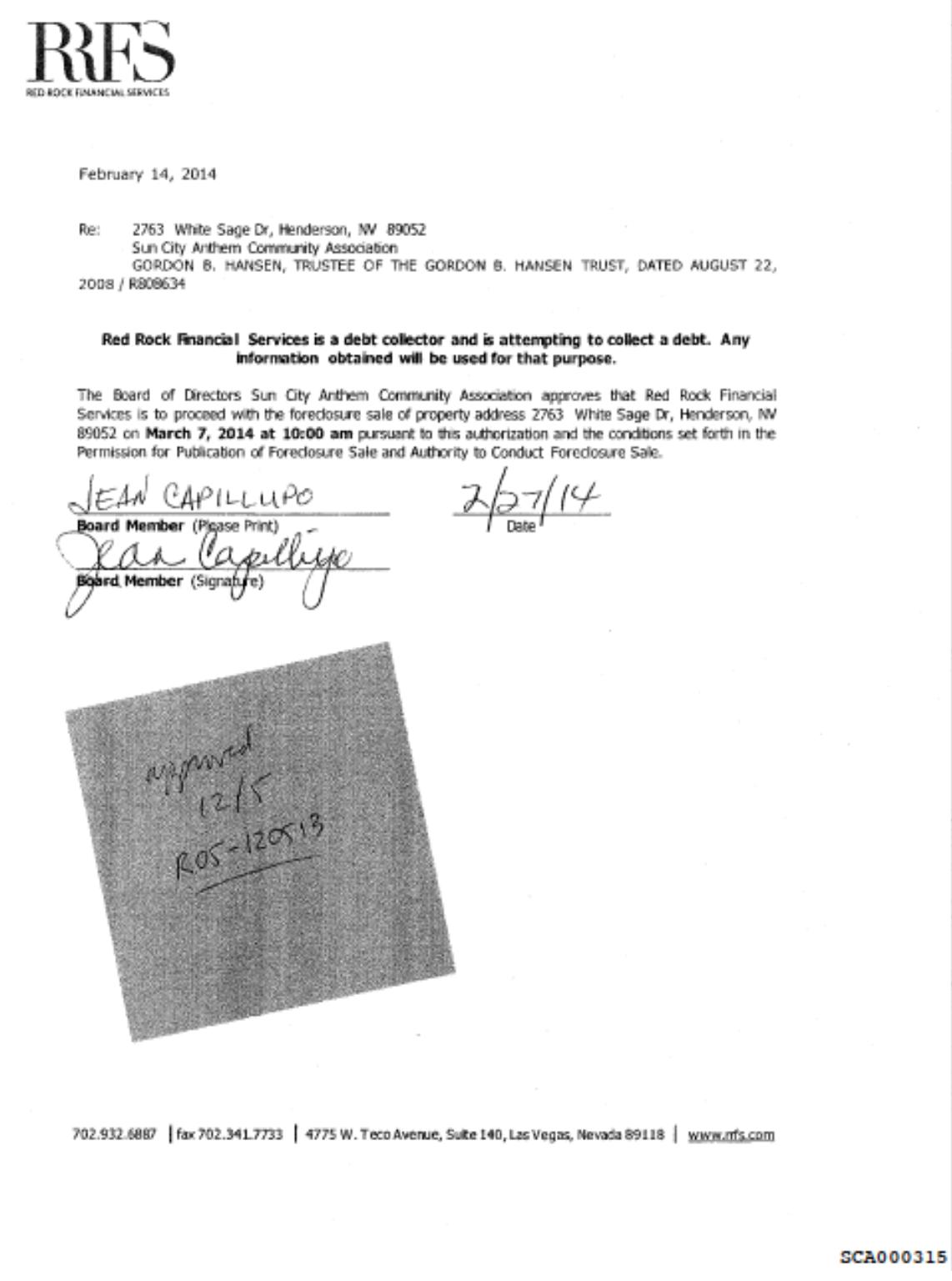 Deceptive disclosures: SCA Board 12/5/13 meeting vs. SCA 315 & RRFS 128
